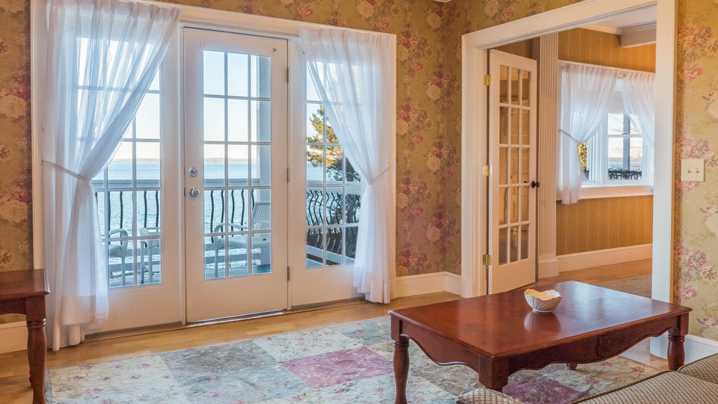 The sitting room in Willows king suite 212 at the Atlantic Oceanside Hotel in Bar Harbor, Maine
