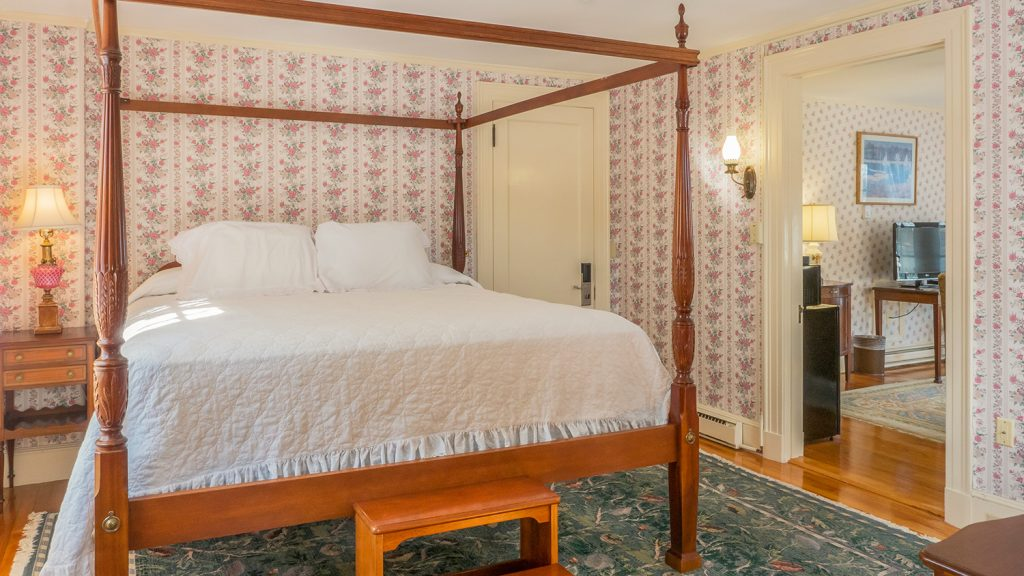 Willows king suite room 825 at the Atlantic Oceanside Hotel in Bar Harbor, Maine