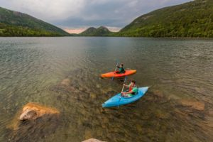 A couple kayaking on Jordan Pond in Maine's Acadia National Park. ©Jerry and Marcy Monkman/EcoPhotography