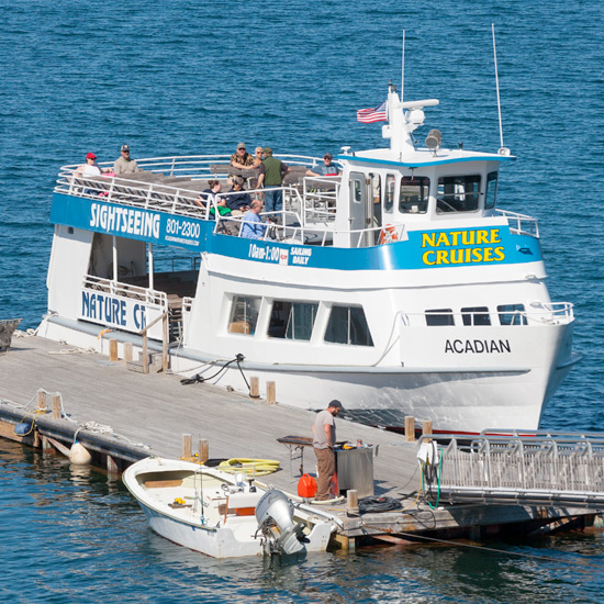 Nature Cruises from the dock of the Atlantic Oceanside Hotel in Bar Harbor, Maine