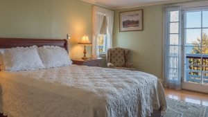 Willows queen room 824 at the Atlantic Oceanside Hotel in Bar Harbor, Maine.