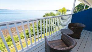 A balcony at the Oceanside Building at the Atlantic Oceanside Hotel